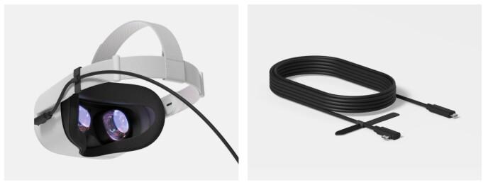 Via Oculus Link-kabelen kan du koble Quest 2 til en PC og spille VR-spill derfra.