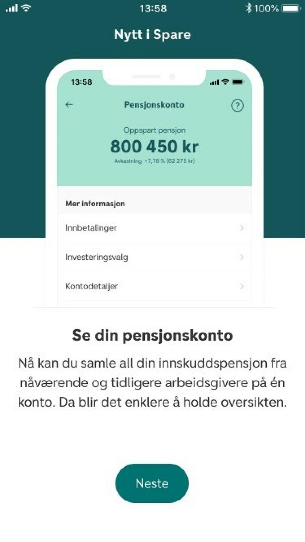 DNB har valgt å legge sin egen pensjonskonto-løsning inn i Spare-appen sin. Løsningen blir også tilgjengelig for de som ikke er kunder hos banken.
