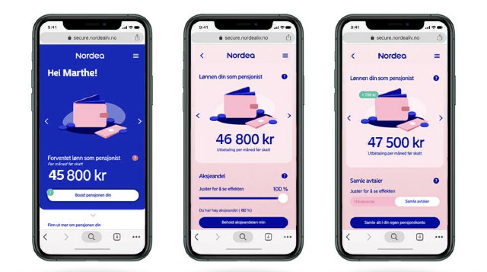 Dette er Nordeas app-løsning. Kundene har gitt veldig gode tilbakemeldinger på den, ifølge dem.