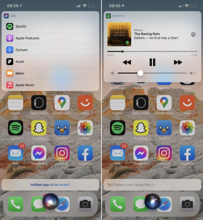 SIRI-FUNKSJON: I utviklerversjonen av iOS 14.5 kan du velge hvilken app du vil bruke for avspilling av musikk via Siri. Nå slipper vi å spesifisere Spotify når vi ber Siri om å spille musikk. Skjermbilde: Kirsti Østvang