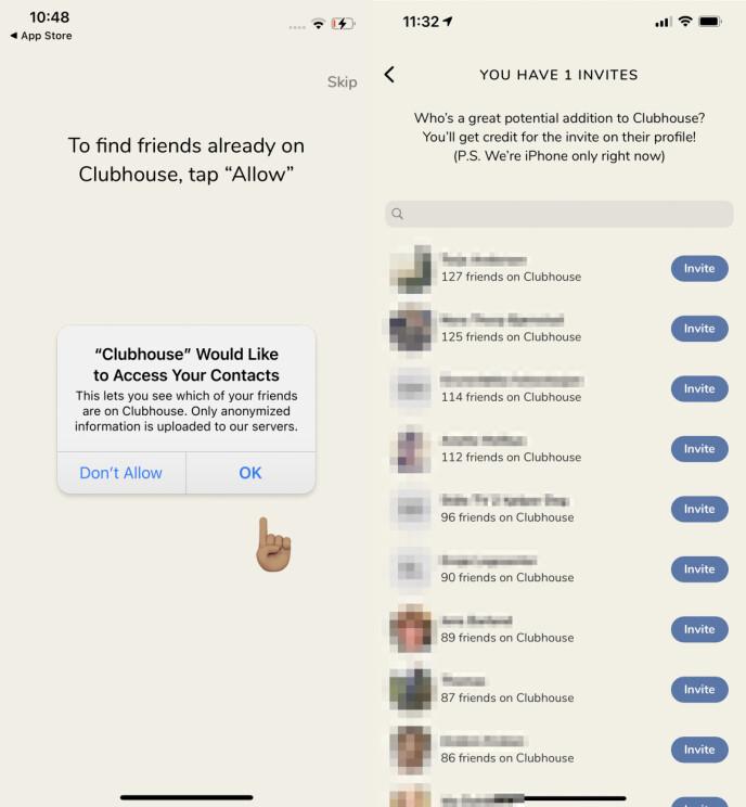 Clubhouse hevder de bare laster opp anonymisert informasjon til sine servere, men det er tydelig at i hvert fall telefonnumre lastes opp, siden tjenesten tilsynelatende vet hvor mange venner dine kontakter har på Clubhouse før de i det hele tatt brukt tjenesten.