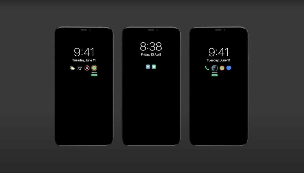 ALLTID PÅ: Apples neste iPhone kan vise viktig informasjon når telefonen ikke er i bruk. Foto: EverythingApplePro