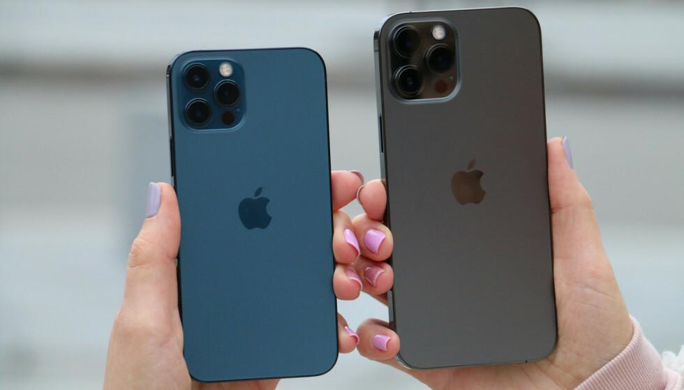 MATTERE: Ifølge ryktene kommer oppfølgerne til iPhone 12 til å se omtrent helt like ut - men baksiden kan få en mattere overflate. Foto: Kirsti Østvang