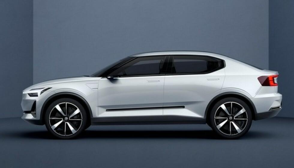 KJENT TEKNOLOGI: Volvo C40, som den trolig kommer til å hete, får samme teknologi som Polestar 2 og Volvo XC40 Recharge. Foto: Volvo