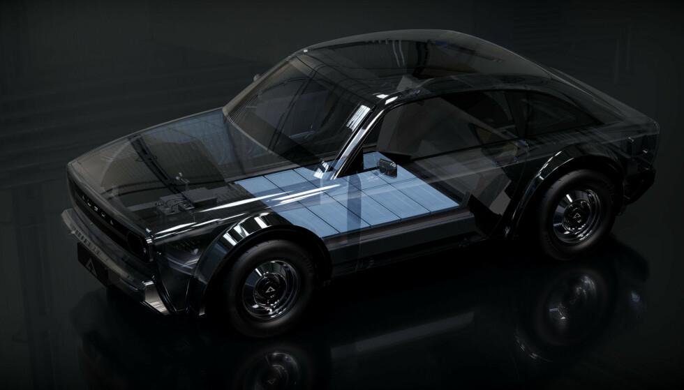 BATTERI BUNN: Bilen vil ifølge planen bli meget stabil å kjøre, med det tunge batteri plassert lavt og midt i bilen. Foto: Alpha Motor Company