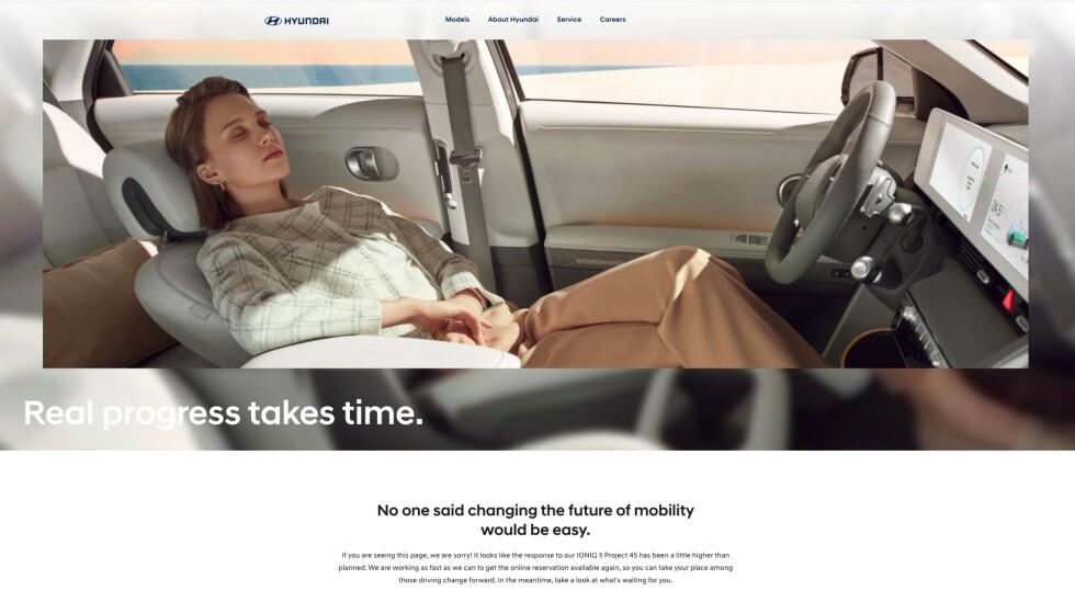 FEIL: Slik ser det ut når tusenvis av reservasjons-lystne nordmenn og andre europeere forsøker å reservere Hyundai Ioniq 5. Skjermdump: Hyundai.com