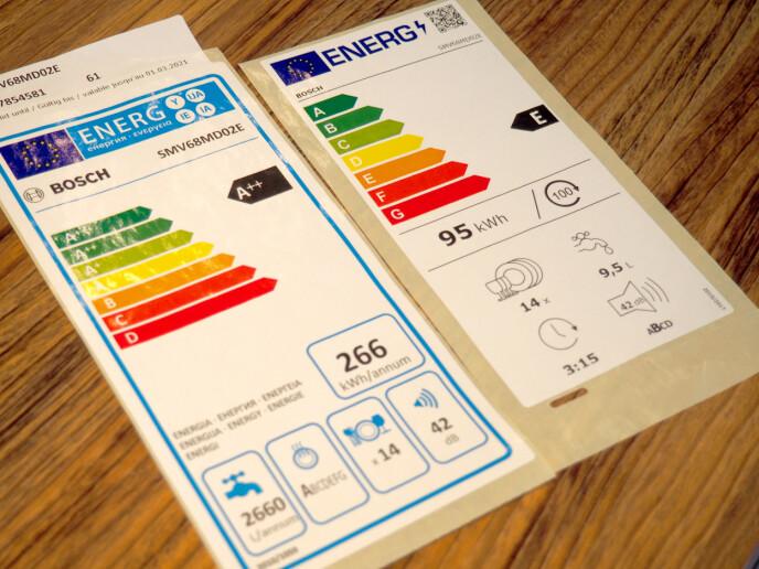 GAMMELT OG NYTT: Gammel energietikett til venstre og ny til høyre. Begge viser info om nøyaktig samme produkt. Foto: Kristin Sørdal