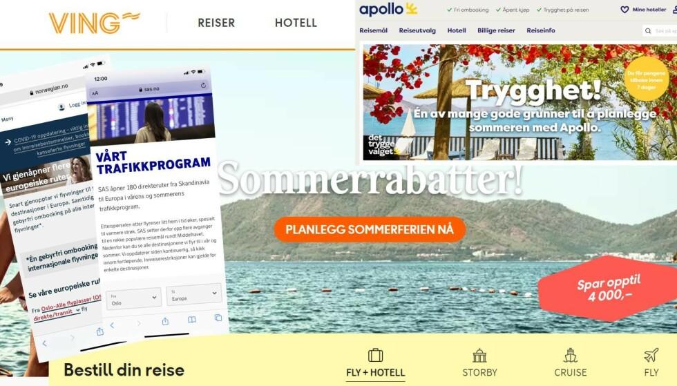MANGE TILBUD: Både fly- og reiseselskapene har tilbud om utenlandsturer, men er det lurt å bestille? Foto: skjermdump