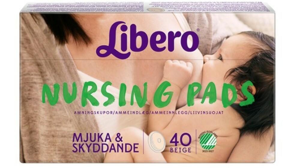 LIBERO AMMEINNLEGG: Libero tilbakekaller alle Libero Nursing pads, med øyeblikkelig virkning. Små limklumper kan løsne og havne i barnets munn og eventuelt luftveiene. Foto: Libero
