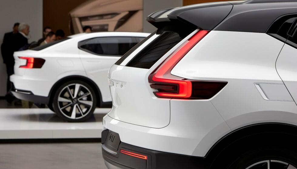 FORSKJELLEN: Volvos andre elbil blir slankere og mer kupé-formet enn XC40. Forskjellen vises tydelig i de to designstudiene som ligger til grunn for den endelige bilen. Foto: Volvo