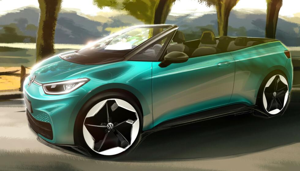 IKKE DØD: Da VW stoppet produksjonen av Golf Cabriolet og Beetle Cabriolet, trodde de fleste at kabriolet var død. Nå tester VW interessen for en elektriske ID.3 uten tak. Den kan være på veien allerede neste år. Skisse: VW