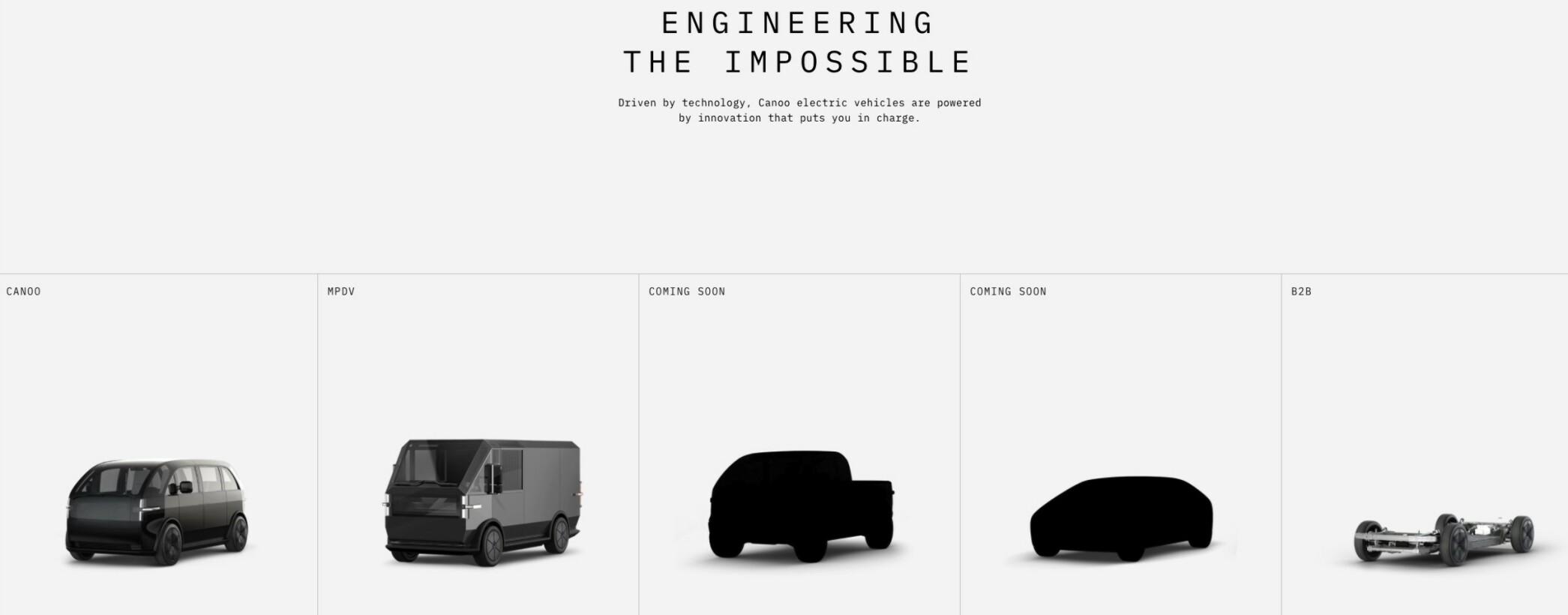 Canoo har tidligere lansert minibuss (Canoo Lifestyle Vehicle), varebil (MPDV - Multi-Purpose Delivery Vehicle) og nå pickup. Etterhvert kommer det også en sedan. Skjermdump: Canoo.com