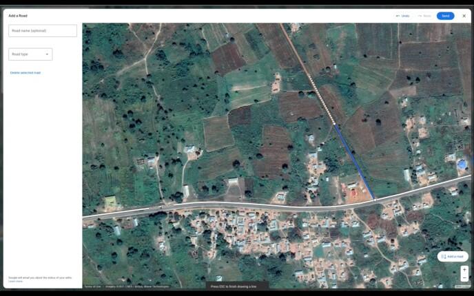 I den nye kartredigereren kan du plotte inn veier som mangler i Google Maps. Skjermbilde: Google