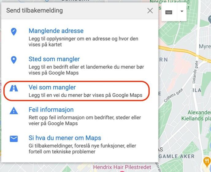 REDIGER KARTET: Du finner redigeringsfunksjonen fra sidemenyen i Google Maps. Skjermbilde: Kirsti Østvang
