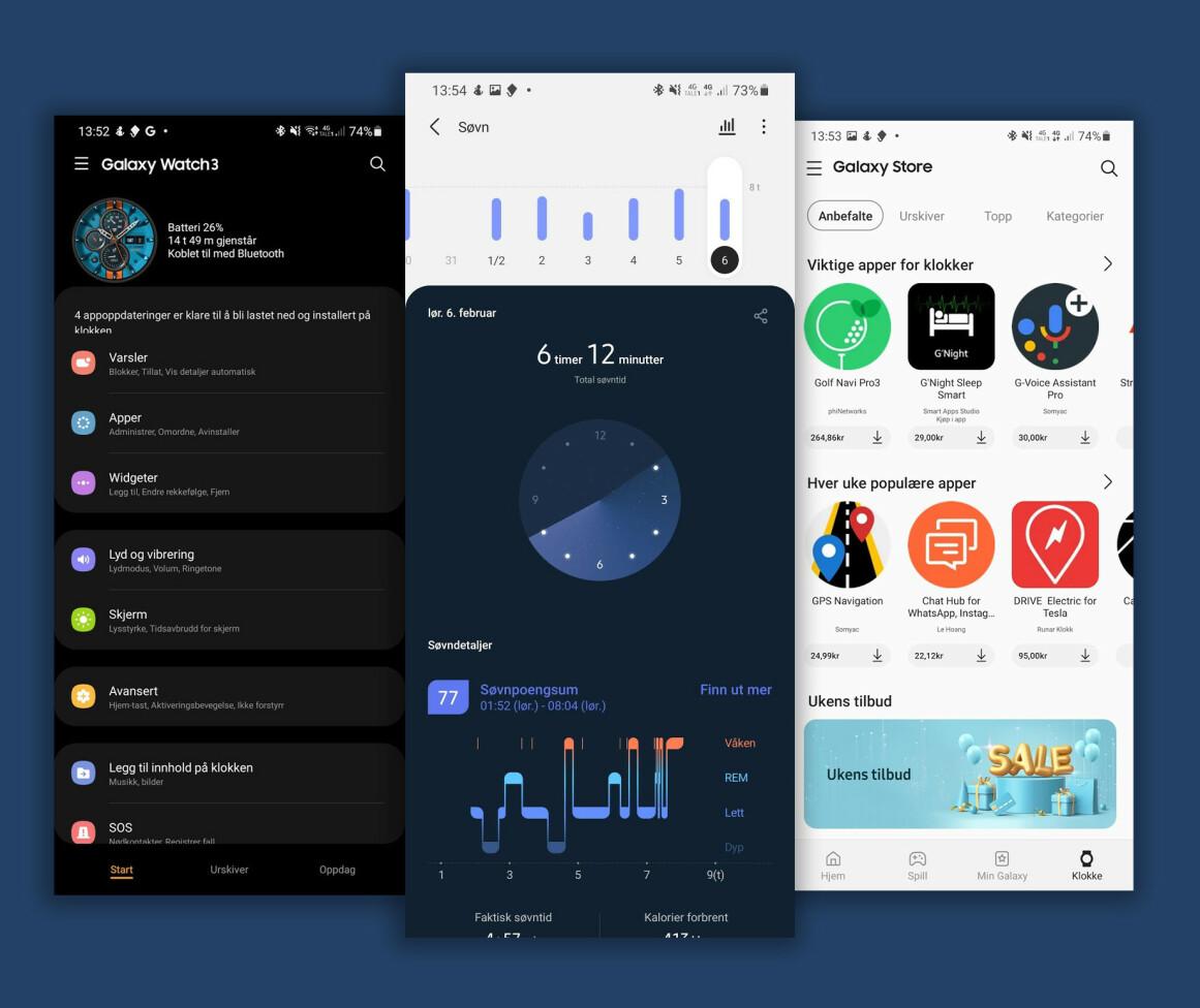SPORER SØVN OG AKTIVITET: Via Samsungs mobilapp kan du få mer informasjon om søvn, trening og så videre, samt styre hvilke varsler du vil motta på håndleddet og laste ned apper og urskiver til klokka. Montasje: Pål Joakim Pollen