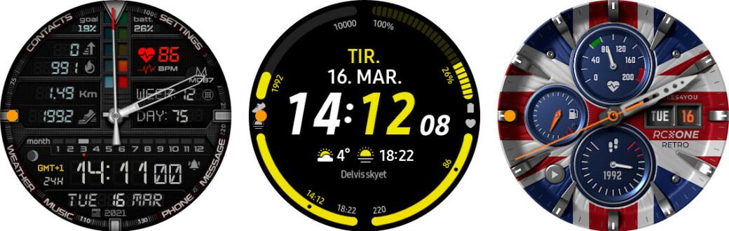 URSKIVER: Her er noen varianter av urskiver du kan få på Samsung Galaxy Watch 3.
