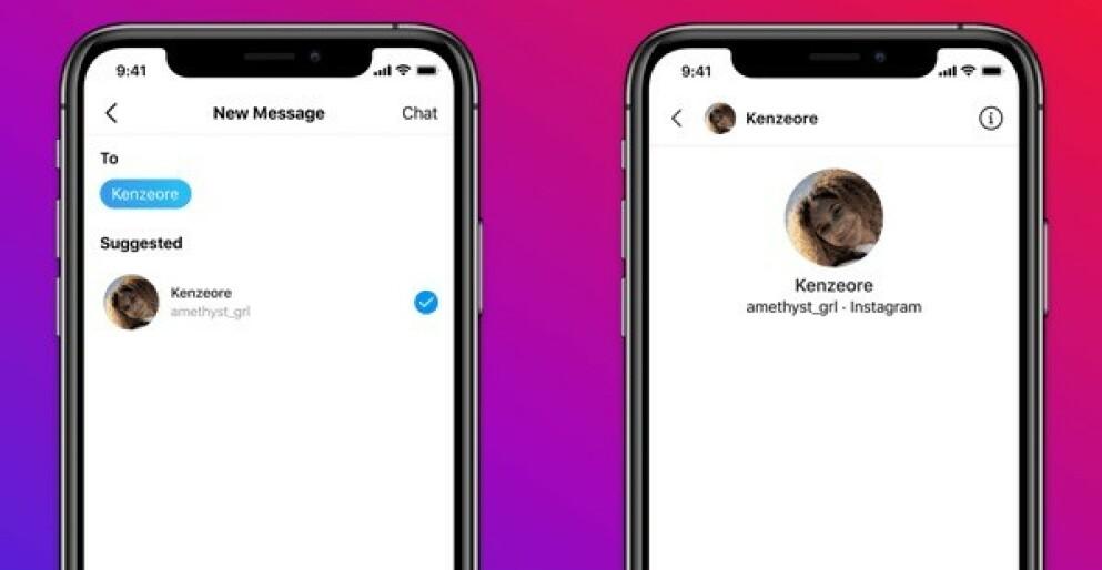 IKKE LOV: Voksne har ikke lenger lov å sende melding til brukere under 18 år, helt uten videre. Foto: Instagram