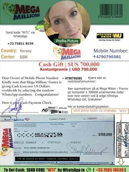 Undertegnede har ifølge svindelforsøket vunnet 700 000 amerikanske dollar ved en tilfeldighet, som betales ut ved å sende en kode tilbake. Bildet i svindelen er undertegnedes profilbilde på WhatsApp.