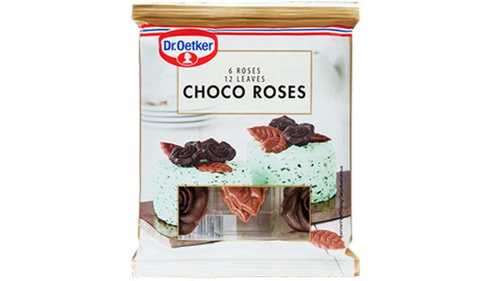 TREKKES: Dr. Oetker Norge AS trekker tilbake produktet Choco Roses med best før dato 5.1.2021, 18.6.2021 og 29.3.2022. Årsaken er at det ved analyse er funnet spor av mandler i produktet. Spor av mandler er ikke deklarert på produktet. Foto: Dr. Oetker Norge AS / NTB