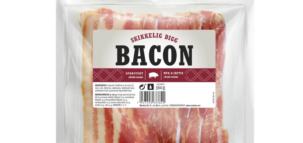 TILBAKEKALLES: Nye partier av «Skikkelig Digg Bacon» fra Nortura blir tilbakekalt på grunn av salmonellafunn. Foto: Produsenten