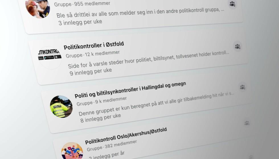 MANGE GRUPPER: Både på Facebook og i andre sosiale medier finnes det mange som varsler andre om trafikkontroller. Skjermbilde: Pål Joakim Pollen