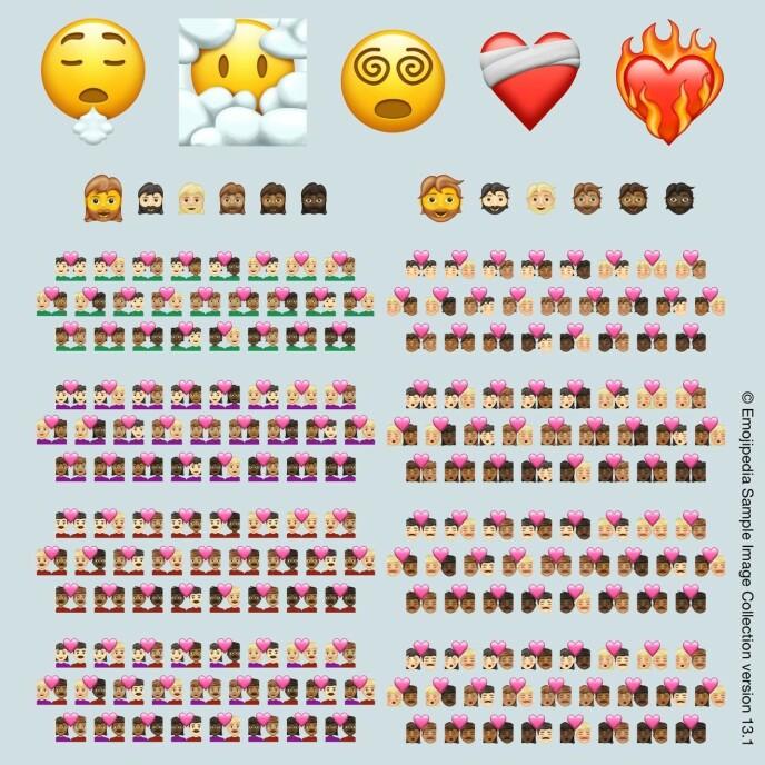 NYE IKONER: Her er de nye emojiene du kan ta i bruk i IOS 14.5. Foto: Emojipedia