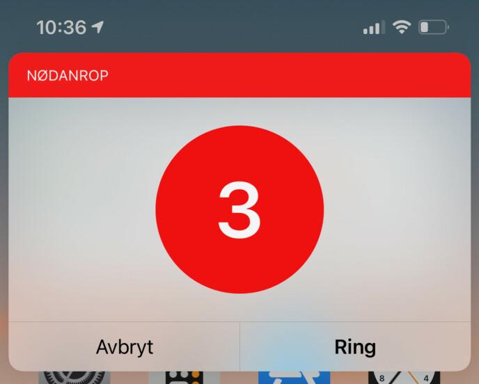 HJELPER DEG I NØD: Siri ringer nå det lokale nødnummeret for deg om du spør. Skjermbilde. Kirsti Østvang