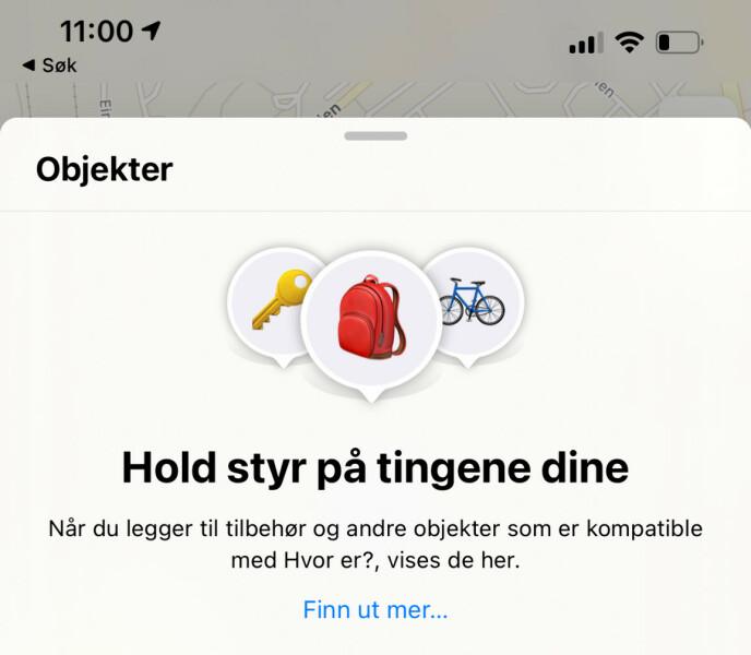 FINN ANDRE TING ENN IPHONE: I iOS 14.5 kan du bruke Hvor er-appen til å holde styr på tingene dine - eksempelvis nøklene, sekken eller sykkelen. Skjermbilde: Kirsti Østvang