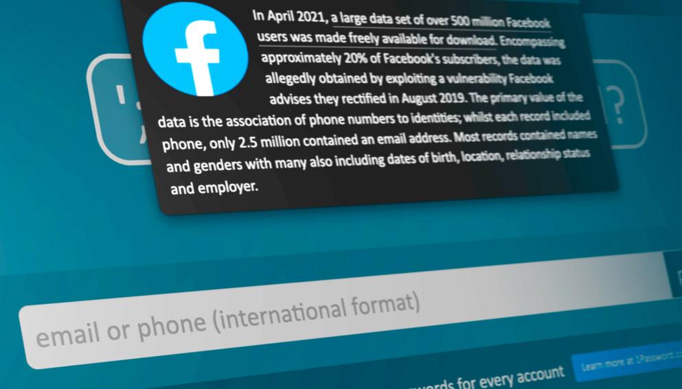 OVER 500 MILLIONER: Data om over en halv millard Facebook-brukere sirkulerer nå på nettet etter et datainnbrudd i 2019. Skjermbilde: Pål Joakim Pollen