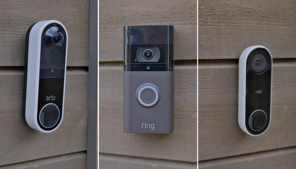 VIDEORINGEKLOKKER: Fra venstre Arlo Wire-Free Video Doorbell, Ring Video Doorbell 3 Plus og Nest Hello. Foto: Martin Kynningsrud Størbu