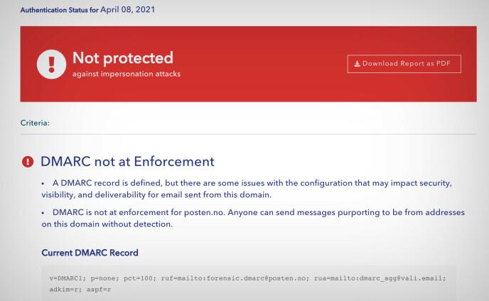 Postens DMARC-oppsett angir p=none, som betyr at domenet er åpent for svindlere som vil forfalske en @posten.no-epostadresse. Skjermbilde: Pål Joakim Pollen