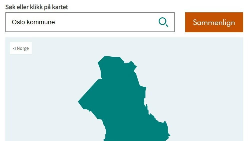 DIGITALT KART: På hjemmesiden til KS ligger det digitale kartet som viser hvordan det står til i din kommune. Foto: Skjermdump