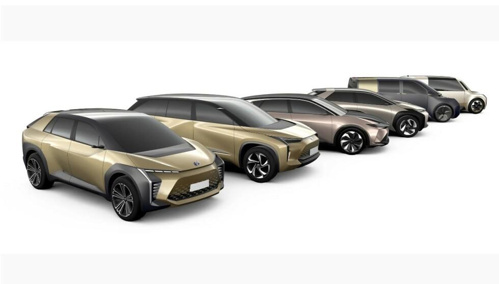 FLERE ELBILER: Toyota har lenge satset på hybrider og er en av de siste store produsentene som kommer med en ren elektrisk bil. De neste årene planlegger fabrikken imidlertid flere nye elbiler, slik denne skissen viser. Ill: Toyota