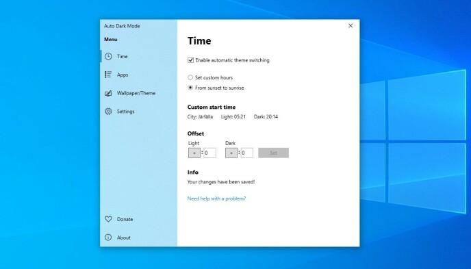 Med Auto Dark Mode endrer Windows 10-temaet automatisk mellom lyst og mørkt tema. Foto: Skjermbilde