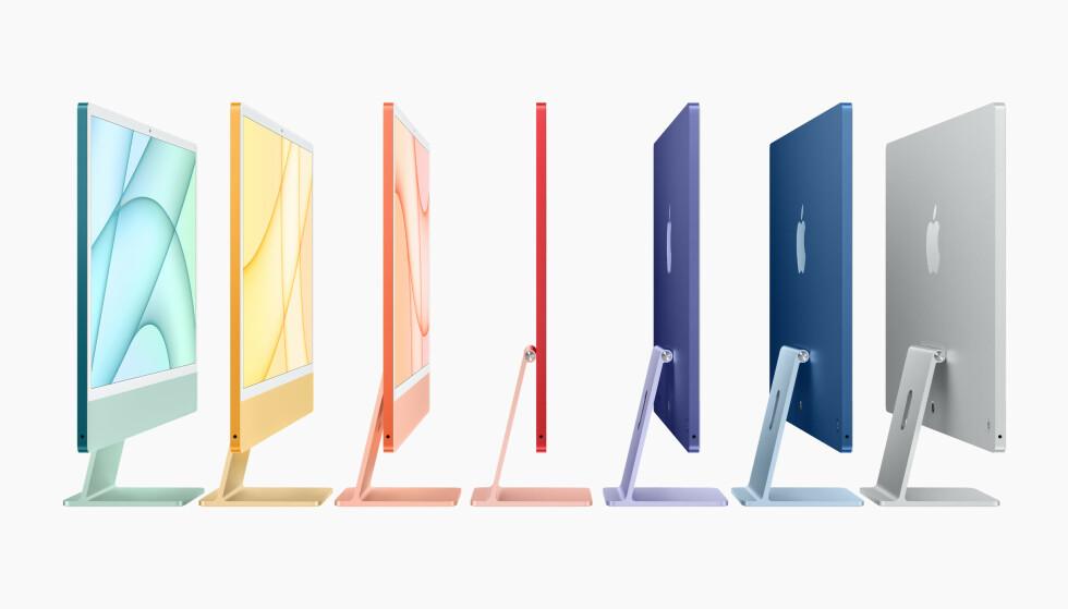 """iMac 24"""" blir tilgjengelig i syv farger: grønn, gul, oransje, rød, lilla, blå og grå. Foto: Apple"""