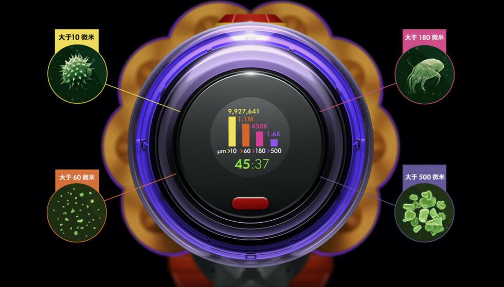PIEZO-SENSOR: Dyson V15 Detect har en sensor som teller og kategoriserer støvpartikler. Foto: Dyson