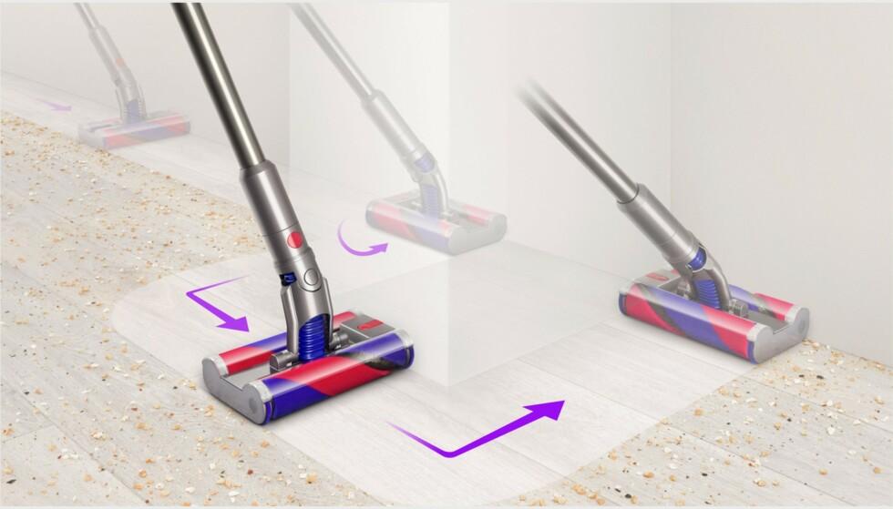 Dyson Omni-glide kan skyves fremover og bakover samt sidelengs. Foto: Dyson