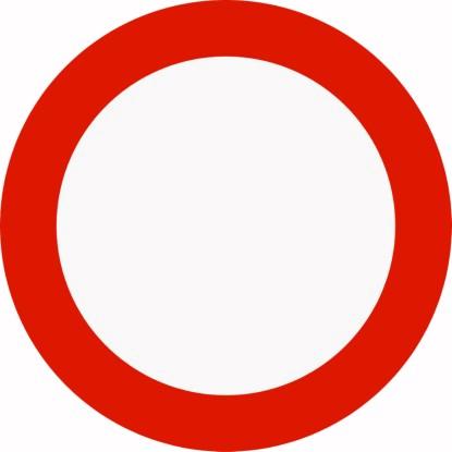 FORBUDT FOR ALLE KJØRETØY: Trafikkforbudsskiltet 306.0 kjører mange i strid med. Illustrasjon: Statens vegvesen