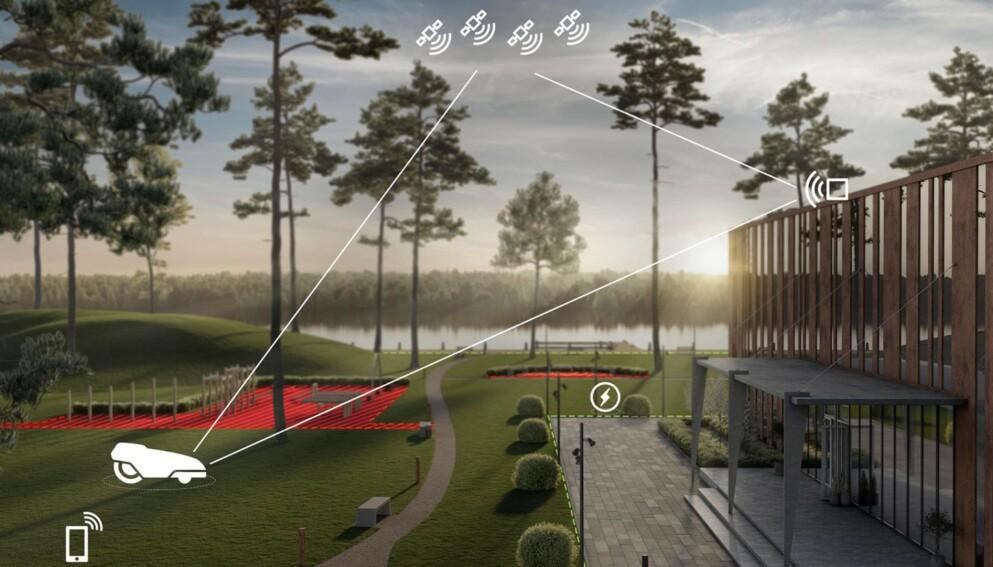 UTEN TRÅDER: Husqvarnas nye Epos-teknologi bruker GPS-basert avgrensning snarere enn ledninger under bakken. Foto: Husqvarna