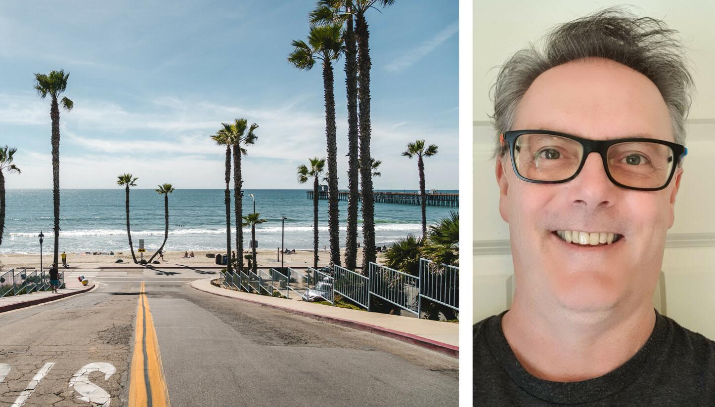 USA-REISER: Thor opplevde at hotellbestillingene i USA virkelig gjorde utslag da han sjekket. Til venstre en strand ved Oceanside Pier i California. Foto: SCANPIX/SHUTTERSTOCK / PRIVAT