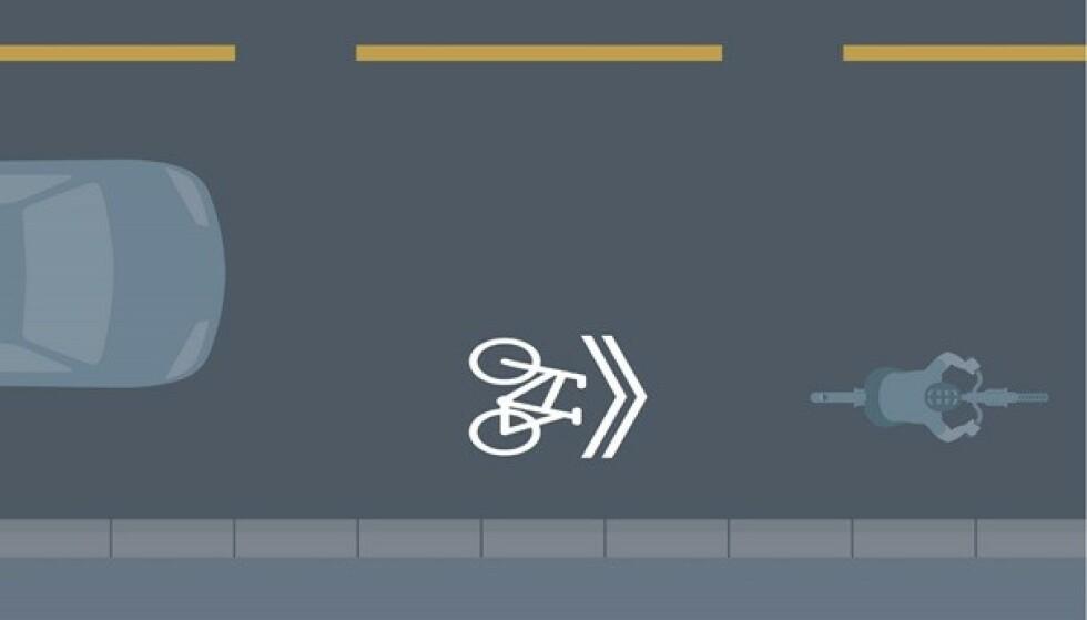 DELESYMBOL: Slik er oppmerkingen som skal motivere bilister til å dele veibanen med syklister. Foto: Statens vegvesen