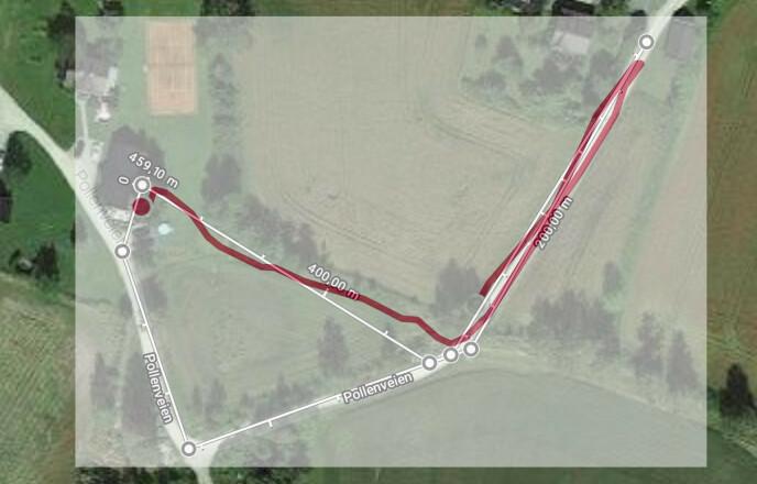 Hvit linje viser hvor vi egentlig gikk. Rød linje er der OnePlus Watch mente at vi gikk. Den gikk tilsynelatende glipp av en del av turen. Foto: Pål Joakim Pollen