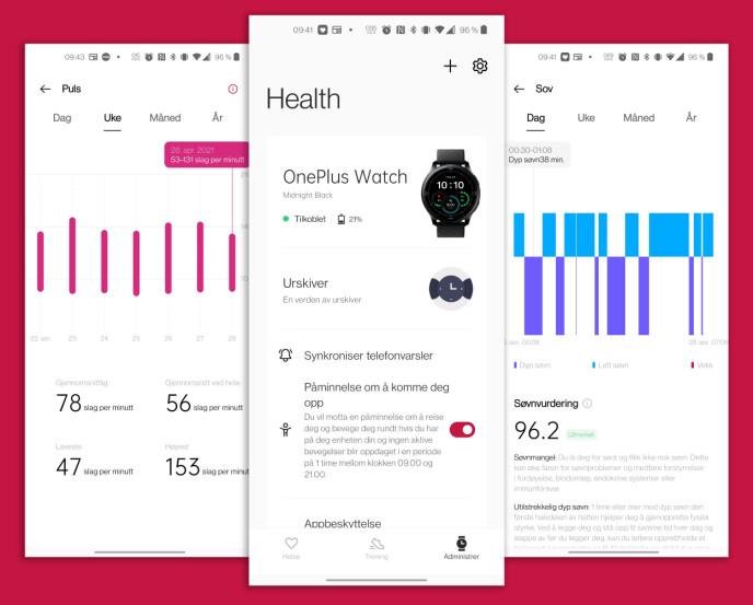 Slik ser den tilhørende OnePlus Health-appen ut. Den er foreløpig kun tilgjengelig for Android, men en iOS-utgave skal være underveis. Skjermbilde: Pål Joakim Pollen