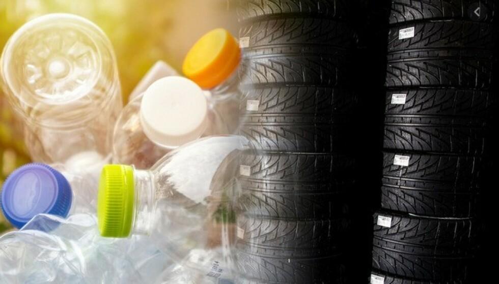 HEMMELIG ENZYM: Ved hjelp av et spesielt enzym, kan plasten i drikkeflaskene forvandles til fiber som kan passer i dekk. Foto: Michelin