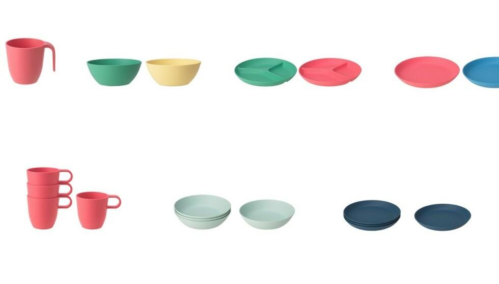 KALLER TILBAKE: Skåler, tallerkner og krus i Ikeas Heroisk og Talrika-serie kalles nå tilbake. Foto: Ikea