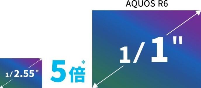 """Sammenlignet med en tradisjonell 1/2,55"""" brikke som var vanlig i toppmodellene for et par-tre år siden, og som du også finner i mange kompaktkameraer, er Aquos R6-sensoren fem ganger større. Foto: Sharp"""
