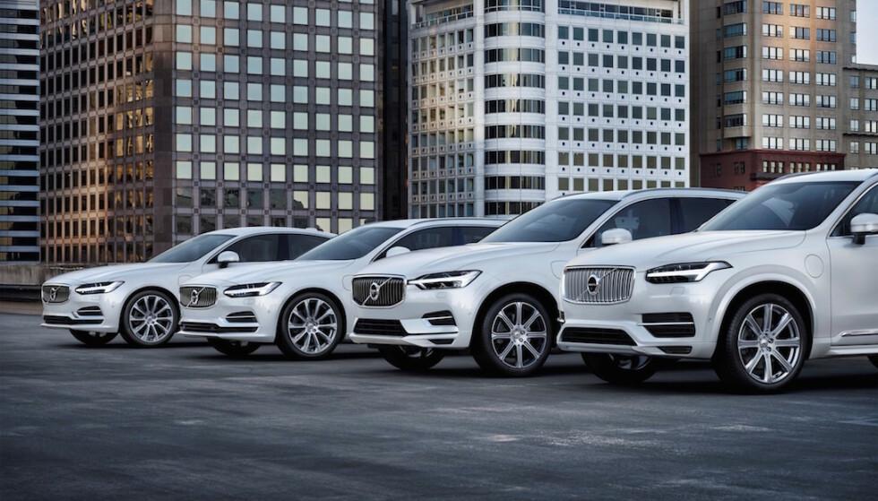 MANGE MODELLER: Flere av de store bilprodusentene, slik som Volvo, har flere modeller med ladbart hybriddrivverk. Dette hjelper fabrikkene i stor grad å komme under de kravene for utslipp som EU har satt for ikke å bøtelegge produsentene. Foto: Volvo