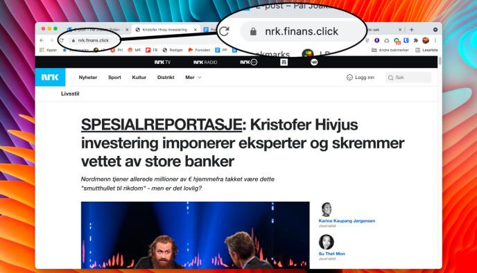 Nettsiden det lenkes til i e-posten er mistenkelig lik NRKs nettsider, men nettadressen avslører at det ikke er en nrk.no-nettadresse. Skjermbilde: Pål Joakim Pollen