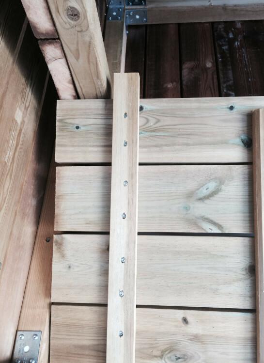 Hun kappet to planker som hun festet på sidene, slik at lokket blir låst fast i riktig posisjon og ikke flytter på seg. Plankene fungerer også som en hemp, slik at det er enklere å få lokket på plass når man åpner og lukker.