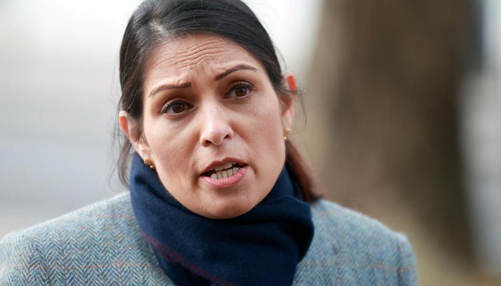 Storbritannias Home Secretary, Priti Patel. Foto: Hannah McKay/Reuters/NTB